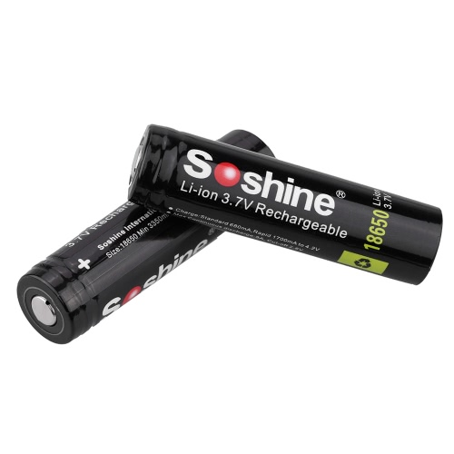 Soshine 2pcs 18650 3.7V 3400mAh Rechargeable Li-ion Lithium Battery with PCB Protected Board for LED Flashlight Torch Light