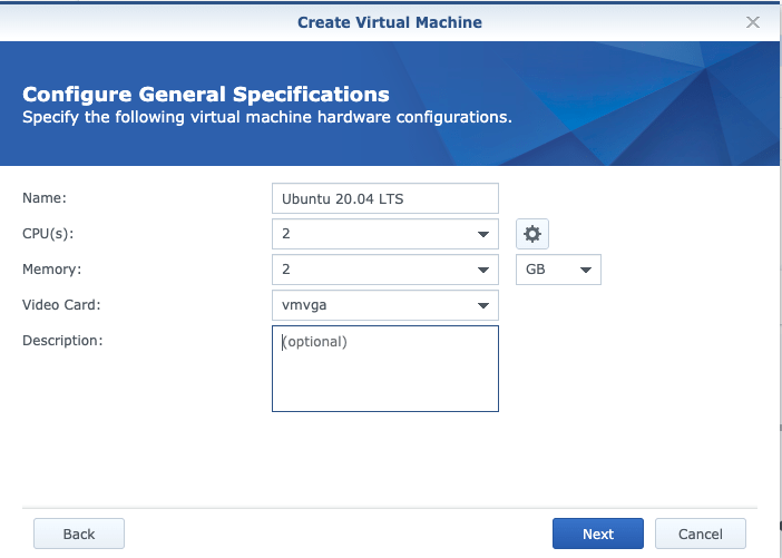 nas synology create vm virtual machine ubuntu 1