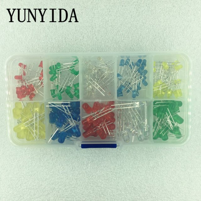 200PCS/Lot 3MM 5MM Led Kit With Box Mixed Color Red Green Yellow Blue White Light Emitting Diode Assortment 20PCS Each New