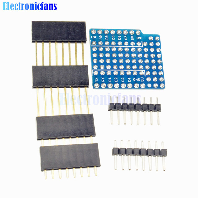 ProtoBoard Shield For WeMos D1 Mini Double Sided Perf Extension Board Compatible for Arduino