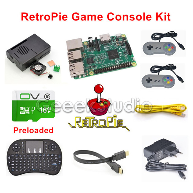Raspberry Pi 3 Model B 16GB RetroPie Game Console Kit with 2pcs SNES Gamepads with 5V 2.5A Optional EU/US/UK/AU Power Supply