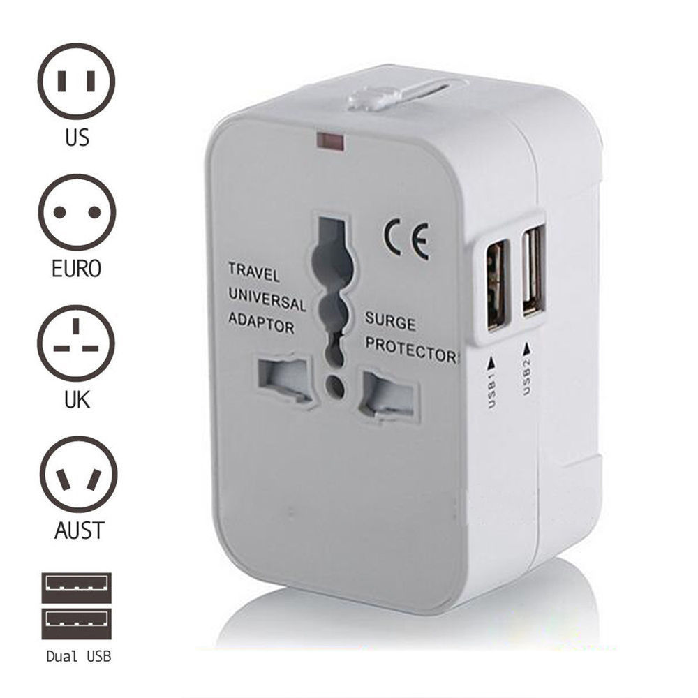 White AU/UK/US/EU Universal Travel Power Charger Adapter Plug Converter Dual USB