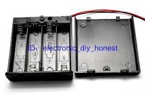 2PCS 4*AA 6V Battery Holder Box Case with cover,switch,w