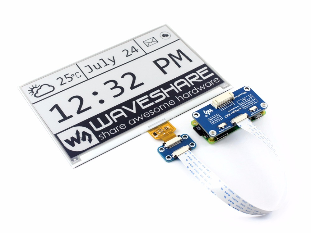 640x384, 7.5inch E-Ink display HAT for Raspberry Pi Black White Two-color Display SPI No Backlight Ultra low consumption