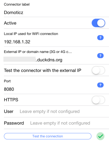 homy domoticz connector settings duckdns